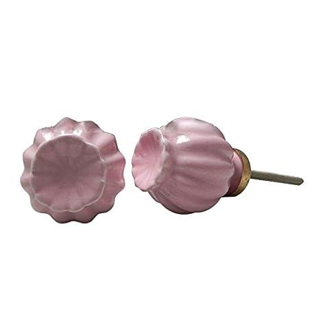 IndianShelf Set of 2 Handmade Ceramic Pink Umbrella Cabinet Pulls Door Handles Drawer Knobs