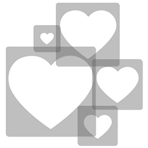 5 Stück wiederverwendbare Kunststoff-Schablonen // HERZEN // 34x34cm bis 9x9cm // Kinderzimmer-Dekorarion // Kinderzimmer-Vorlage - 5 Herz