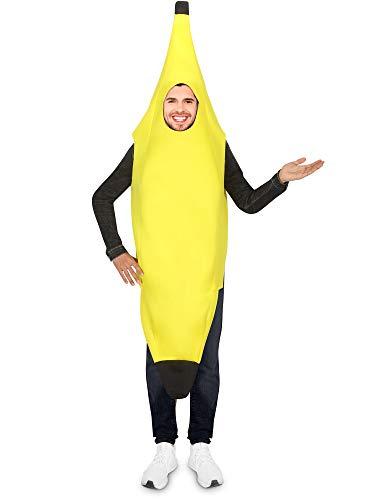 Für Erwachsene Bananen Kostüm - Bananen Kostüm Lustige Cosplay Bananen Anzug Erwachsene Leichte Bananen Kostüme Obst Kostüm für Halloween Party (1 Stücke)