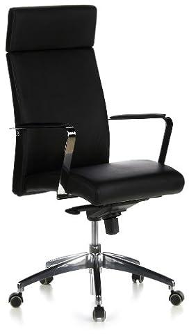 hjh OFFICE 600200 chaise de bureau, fauteuil de direction BAROLO 20 noir en cuir, avec accoudoirs, siège pivotant haut de gamme, dossier haut inclinable, piètement robuste et stable, assise ergonomique et confortable