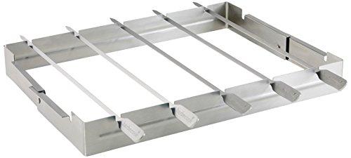 31 A2uiU8ZL - Grillspießhalter Universal mit 5 Edelstahl-Spießen Grill Zubehör Spieß-Halterung matt spülmaschienen-geeignet
