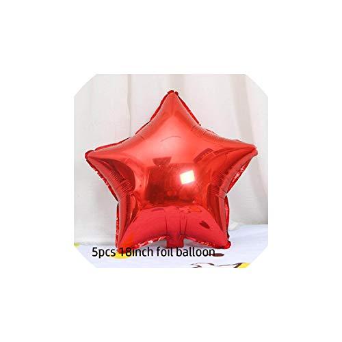 20Pcs 10Inch Latexballons 18Zoll Rotes Herz Folienballon für Hochzeitsdeko, 5Pcs Foil Red Star