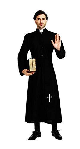 (Lovelegis One Size - Priester Kostüm Bischof Prälat Religiöse Exorzistenkirche - Verkleidung Karneval Halloween Cosplay Zubehör Maske - Mann - Farbe Schwarz)