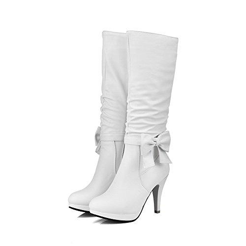 VogueZone009 Damen Nubukleder Rund Zehe Hoher Absatz Stiefel mit Anhänger Weiß