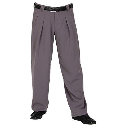 HK Mandel Herren Bundfaltenhose in Flieder Flieder grau mit Extraweit geschnittene Beine, Retro Vintage Mode Herren 50er 60er Jahre Model Boogie Größe 58