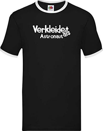 Schwarze Astronaut Kostüm - Ringer Shirt Karneval Verkleidet als Astronaut