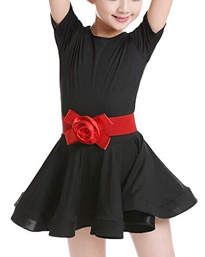Kostüm Kinder Samba - DianShaoA Kinder Latein Tanzkleid Mädchen Performance Kostüme Latin Rumba Samba Kleid Dancewear Schwarz 160