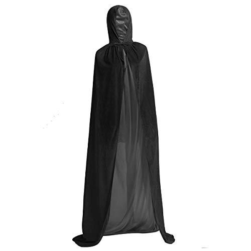 TiaoBug Unisexo Largo Capa con Capucha Terciopelo Disfraz de Halloween para Mujeres Hombres Halloween Fiesta Disfraces Largo 170cm/66.9'' Negro XL
