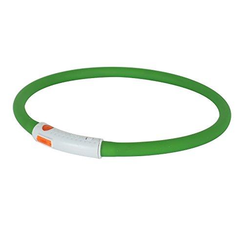 2-TECH LED Visio Leuchthalsband in GRÜN Deluxe für Hunde und Katzen universell kürzbar, Halsumfang bis 55 cm