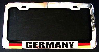 Kennzeichenhalter mit Deutschland-Flagge, strapazierfähig, verchromtes Metall, ideal für Herren und Damen, Auto-Garadge Dekor