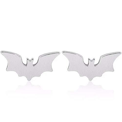 Kleine gebürstete geätzte texturierte Fledermaus-Ohrstecker in Silber Halloween Gotham Gotham