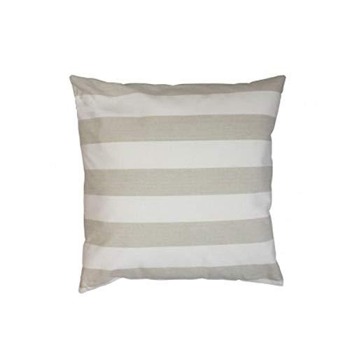 Mars & More - Chambray - Cushion/Kissen/Zierkissen/Sofakissen - Hülle: 100% Baumwolle/Füllung: 100% Polyester - Beige/Weiss/Streifen - 50cm x 50cm - Lieferung inkl. Füllung -