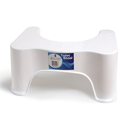 Prämie Toilettenhocker weiß - Wc Hocker - Toiletten-Stuhl - Hocker für Erwachsene & Kinder Prävention gegen Hämorrhoiden, Verstopfung, Reizdarm - 44,5cm x 28cm x 21cm - Premium Toilet Stool Step - Squat Aid Tool - Anti constipation Heal - Healthier - White - 44,5cm Wide x 21cm Height x 28cm Long | Schukaps Home |
