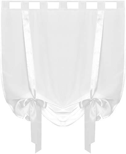 Raffgardine mit Schlaufen 80x160 cm Auswahl: weiß - kristallweiß (Land Vorhänge Küche)