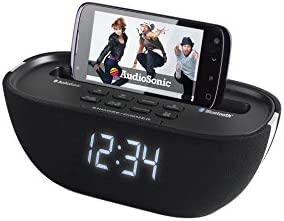 AudioSonic CL-1462 - Radio despertador Bluetooth, color negro