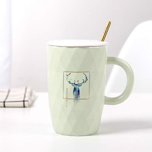 Gold-plated Cup (XIAMD Tasse Colorful Elk Mug with Gold-Plated Steel Spoon Lid,Animal Mugs Drinkware Coffee Tea Cups Novelty Gifts Home Office Cup 400Ml,03)