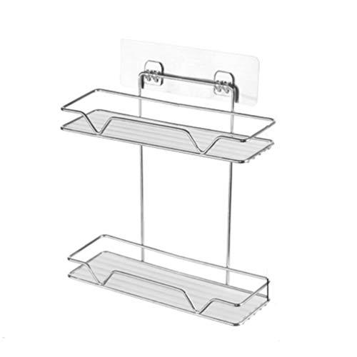 NaPuDt Haltbares Edelstahl Badregal, Dusche Caddy Korb Rechteck Lagerung mit Starken Saugnäpfen für Küche Bad Organizer (Caddy Bath Wanne über Die)