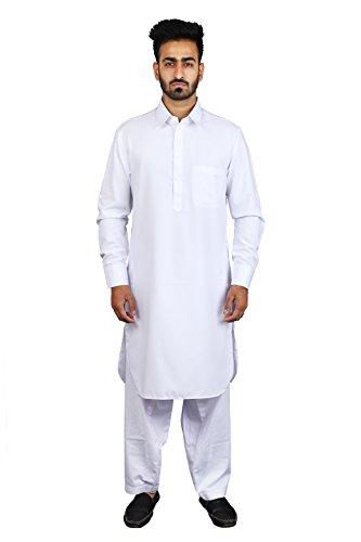 Thaath Men's White Pathani Kurta Pyjama Set (Eid Collection)