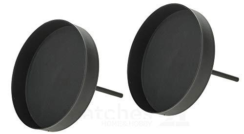 matches21 Kerzenhalter aus Metall Metallkerzenhalter für Adventskranz rund schwarz mit Pick & Rand 2er Set je Ø 8 cm