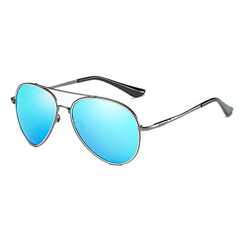 Weifan1 Aviator Polarized Sonnenbrille, Driving Glasses Shades Für Herren, Metallrahmen, Anti-UV400,Gun/Blue