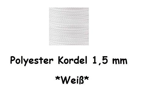 1m PP-Polyester Kordel Seil Schnur Ø 1,5mm, geeignet für Schnullerketten, Greiflinge u.v.m. (Weiß)