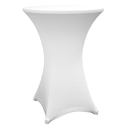 Lumaland hochwertige Stehtischhusse in verschiedenen Farben und Größen Weiss 80 bis 85cm