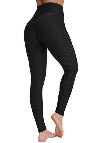FITTOO Pantaloni Tuta Donna Yoga Pants Leggins Sportivi Push up Fitness Ginnastica, Nero, XL