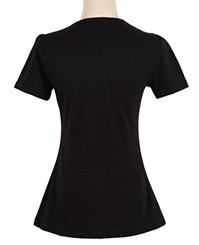Para Mujeres 50s Pinup Design Negro Tops Cortocircuito Corazones...