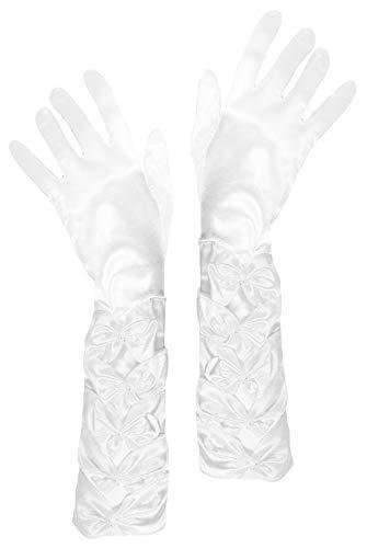 Kostüm Satin Handschuhe - Das Kostümland Prinzessin Handschuhe mit Raffung und Perlen - Weiß - Zubehör Satin Gloves Princess Braut Hochzeit Diva Abendkleid Kostüm Karneval Junggesellenabschied Mottoparty Tanzshow