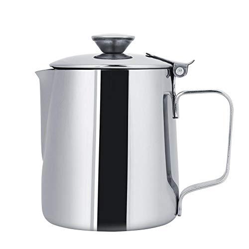 Espresso Dampfende Milch (Espresso dampfende Krüge, Edelstahl Milch Aufschäumen Pitcher Kaffeetasse mit Deckel für Latte Art Coffe Jug Cup (250ml/8oz))