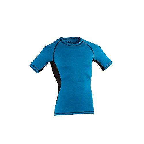 Engel Sports Bio Funktionswäsche Herren Kurzarm Shirt aus Bio Merinowolle und Seide mit Elasthananteil (XL, Sky/Black) - Kurzarm Seide Shirts Herren