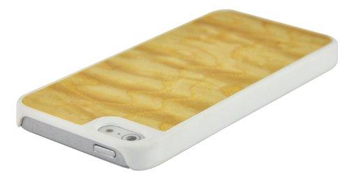 SunSmart Coque en bois et cuir pour Apple iPhone 5/5S/5C avec pied de maintien vertical Marron foncé ronce d'érable-bords blancs