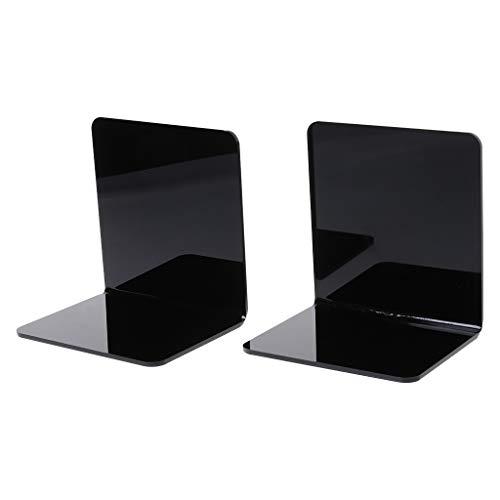 WINJEE, 2 Stücke Schwarz Acryl Buchstützen L förmigen Schreibtisch Organizer Desktop Buchhalter Schule Schreibwaren Büro Zubehör Schwarz GRÖßE-S -