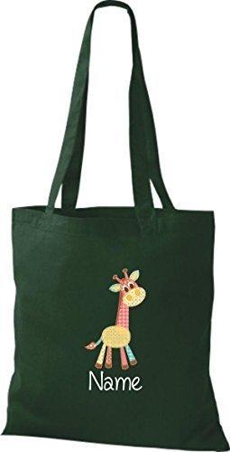 Borsa di stoffa con DOLCE FANTASIE incl. NOME PERSONALIZZABILE Giraffe Verde
