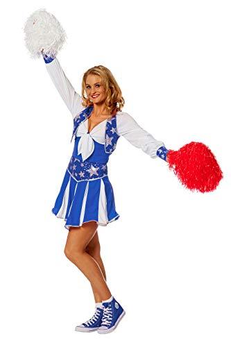 The Fantasy Tailors Cheerleader Kostüm Damen Blau Weiß Tänzerin Football Basketball Karneval Fasching Hochwertige Verkleidung Fastnacht Größe 38 Blau/Weiß