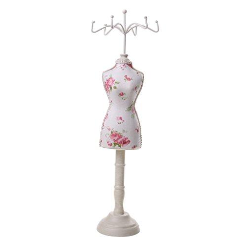 milageto Damen Cheongsam Kleid Schaufensterpuppe Halskette Ohrring Ständer Halter Schmuck Display - Gartenblume