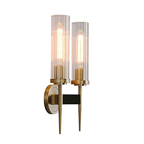 Yaione 2 Lichter Wandleuchte Badezimmer Vanity Lights mit Dual Cycinder Glas Licht Schatten for Wohnzimmer Glas Schatten Wandleuchte Vintage Bauernhaus Scheune Wandleuchte AC110-240 -