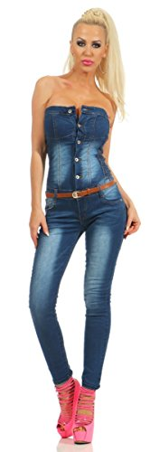 Fashion4Young 5435 Damen Bandeau Jumpsuit Jeans Overall Hosenanzug Damenjeans Schulterfrei (dunkelblau, M-38) Sexy Jeans-overall