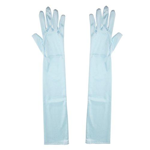 D DOLITY Satin Handschuhe Abendhandschuhe Hochzeithandschuhe Brauthandschuhe, Elastisch und Lang - Hellblau - Satin-oper Länge Brauthandschuhe