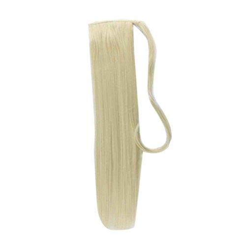 Babysbreath Falsche Haar-Endstück-Haarteil-Pferdeschwanz-synthetische Haarsträhne Wenden Sie langen geraden gefälschten Pferdeschwanz an Dunkel Golden