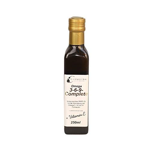Carnivora Barf-Öl für Hunde: Omega 3 6 9 Complete Barf Öl + Vitamin E (in der Glasflasche) mit Lachsöl, Hanföl, Leinöl und Borretschöl (250ml Omega-3-6-9-Öl)