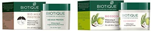 Biotique Bio Milk Protein Whitening & Rejuvenating Face Pack For All Skin Types, 50G and Biotique Bio Coconut Whitening And Brightening Cream, 50g