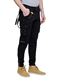 honey shop Mens Black Dori Style Relaxed Fit Cotton Cargo Jogger Jeans Pants (Size_34)