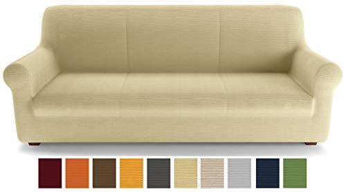 Petti artigiani italiani - copridivano, beige, copridivano 3 posti, copridivano elasticizzato, copridivano beige, tessuto lineare, 100% made in italy