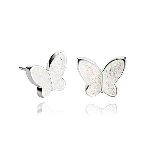 Funkelnde Schmetterling-Ohrstecker in Perle Weiß zu Weihnachten