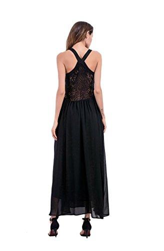 JOTHIN Damen V-ausschnitt ärmellose Spitzenkleid Einfarbige Aushoshlen Strandkleid Maxi Schwarz