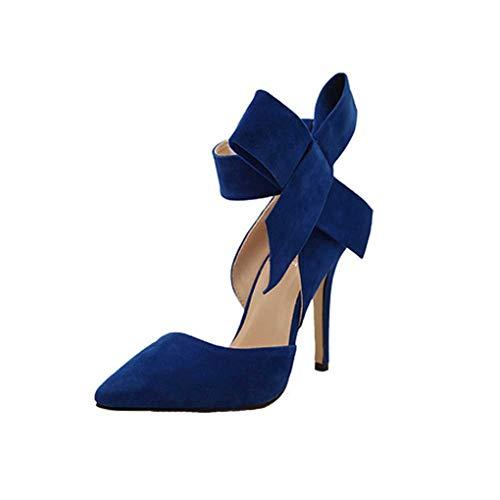 Dorical Damen Pumps Plateau Stiletto/Sommer Wildleder Sandaletten Moderne High Heels Sexy Party Hochzeit Schuhe Sandalen Mit einer großen Bogen Fliege(Blau,40 EU) -
