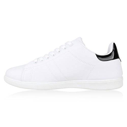 Sportliche Damen Sneakers | Sneaker Low Metallic Lack | Turnschuhe Muster Glitzer | Retro Flats Schnürer | Animalprints Veloursleder-Optik Weiss Schwarz Brooklyn