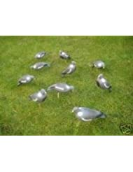 Savage Island Lot de 8 faux pigeons dont 4 à tête relevée et 4 à tête baissée