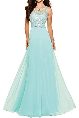 ivyd ressing Art-Bavaria pietre da donna a-Line di Lang Prom abito Chiffon & Tuell Party abito da sera Blau